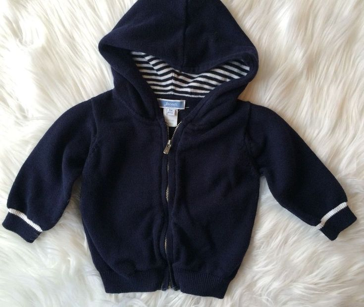 Jacadi Paris Baby Boy's 6 Months Navy Blue and White Hooded Cardigan Sweater #Jacadi #Cardigan #Everyday