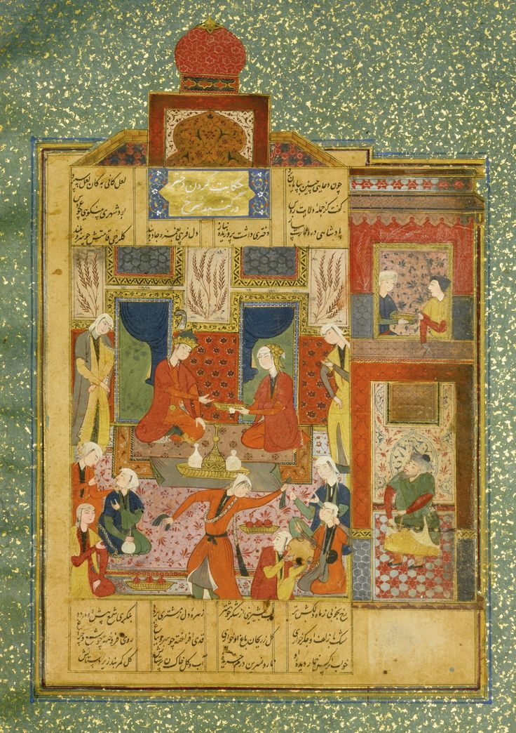 AN ILLUSTRATED AND ILLUMINATED LEAF FROM NIZAMI'S HAFT PAYKAR: KING BAHRAM IN THE RED PAVILION LISTENING TO THE STORY OF THE PRINCESS OF THE FOURTH CLIME, PERSIA, SAFAVID, 16TH CENTURY