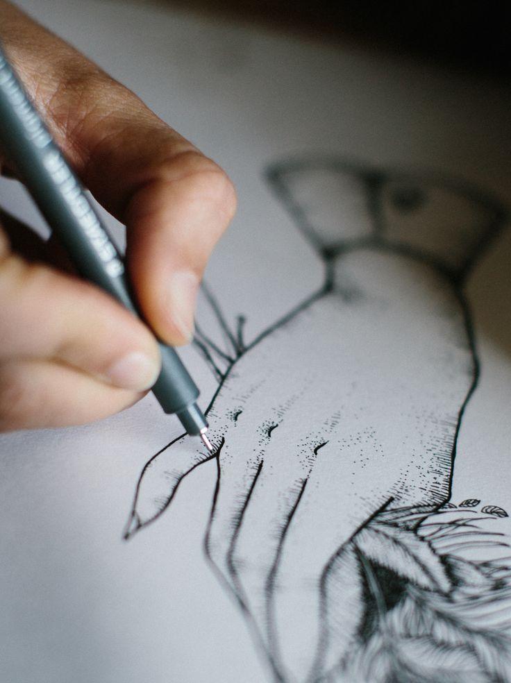 illustration - gravure - engraving - hand flowers - yoris Couegnoux - studio waaz - ink