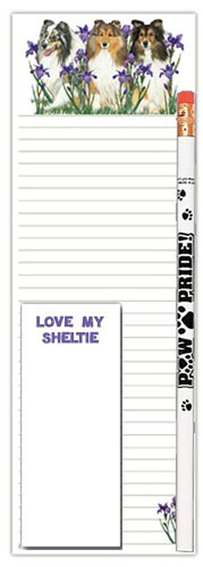 Sheltie Dog Notepads To Do List Pad Pencil Gift Set These Sheltie dog notepads are a perfect gift set for any occasion. Each set comes with a larger lined notepad, a smaller quick-notepad, and a pencil.
