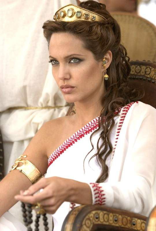 Angelina Jolie greek goddess hair updo. Look at the tiara nstrad of flowers or crown. This will b special. Mom