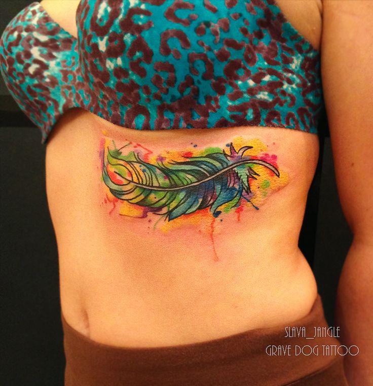 tattoo artist Slava Jangle watercolor tattoo перышко акварельная татуировка