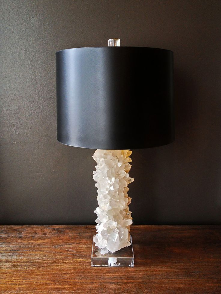 Quartz Crystal Table Lamp With Lucite Finial, Lucite Base Glossy Black Shade