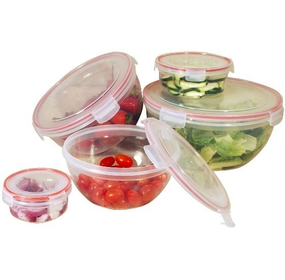 Kitchen Storage Set Plastic Food Container 10 Piece Canister Pyrex Bowls Lock This Kitchen Storage Set has click & lock airtight lids that are very easy to open & close. Containers nest for easy storage. Freezer, microwave & dishwasher safe. Kitchen Storage Set Features: Set includes 5 covered containers: 7.5 oz, 17 oz, 28 oz, 46 oz and 73 oz Constructed in food grade plastic BPA free Use it to store your vegetables and left-overs Easy lock & seal Seal is made of durable silicone Variety…
