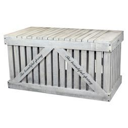 Rustic Gray Wooden Outdoor Deck Box, Patio Storage Trunk - Rustic Gray - Vintiquewise