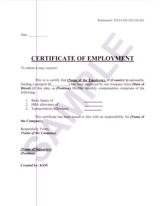 Formal Sample of Certificate of Employment with White