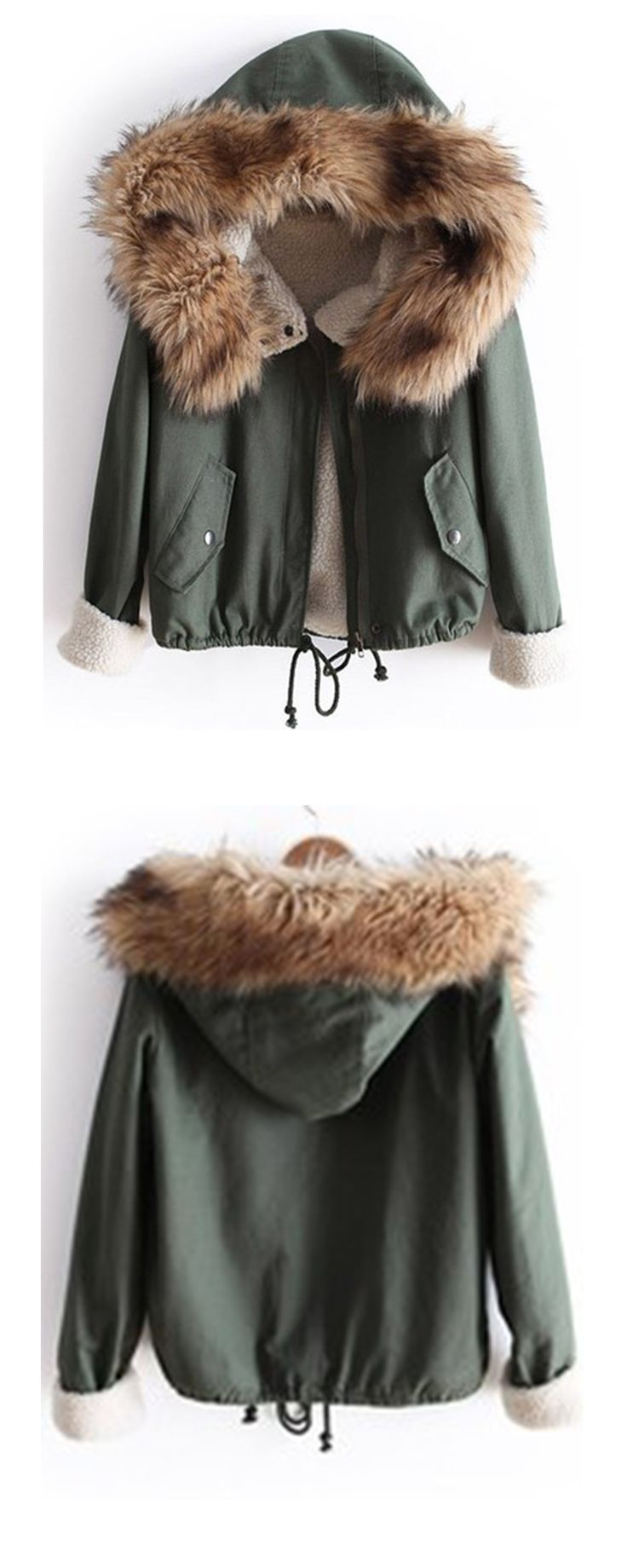 Green fur hooded long sleeve quilted drawstring coat