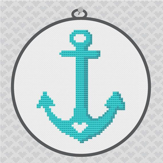 Anchor Silhouette Cross Stitch PDF Pattern by kattuna on Etsy, $3.50
