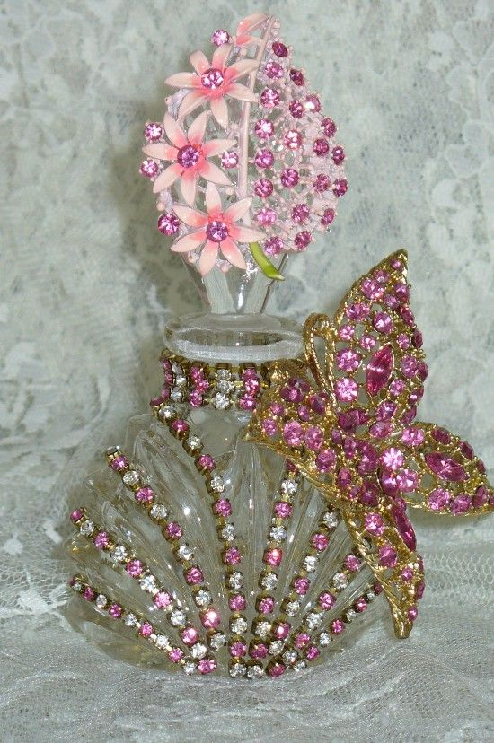 Antique Bejeweled Perfume Bottle 17 By Debbie Del Rosario-Antique, Perfume, Weiss, Rhinestones, Glass, Crystal, Victorian,