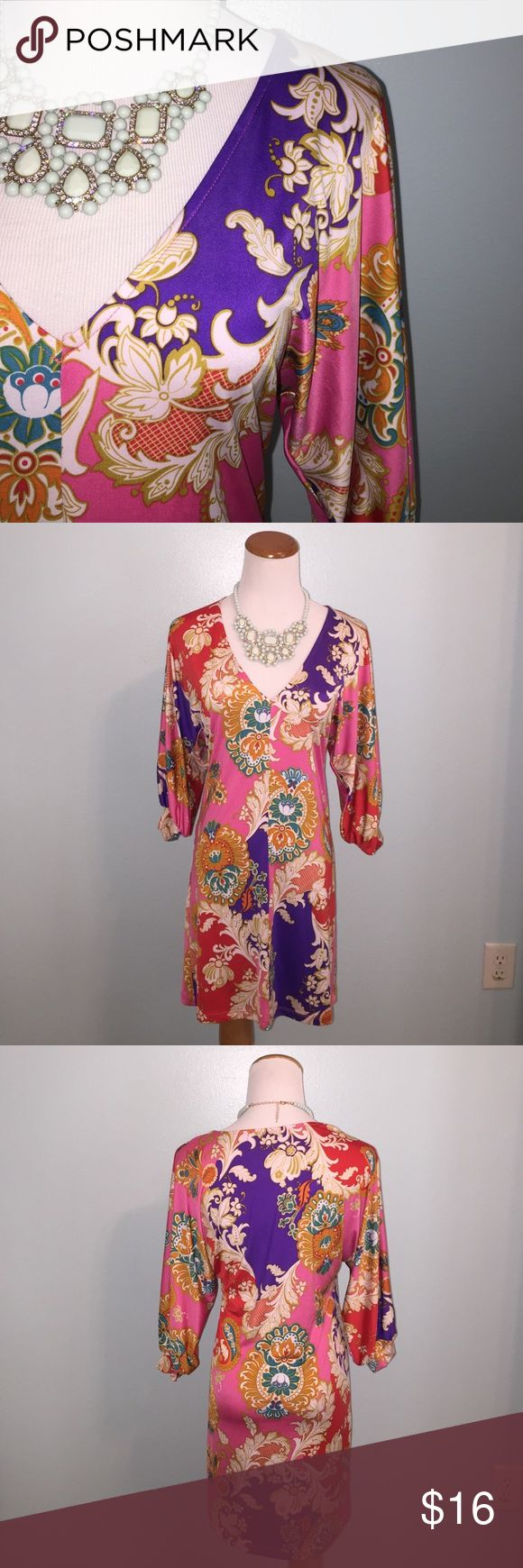 Colorful paisley print dress Size S. 3/4 length sleeves. Polyester/spandex blend. Karlie Dresses Mini