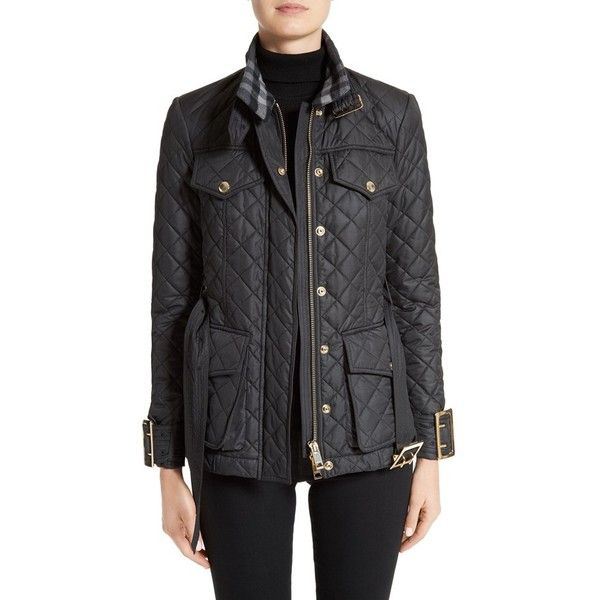 Women's Burberry Haddingfield Quilted Field Jacket (€800) found on Polyvore featuring women's fashion, outerwear, jackets, black, diamond quilted jacket, burberry jacket, logo jackets, military jacket and army utility jacket