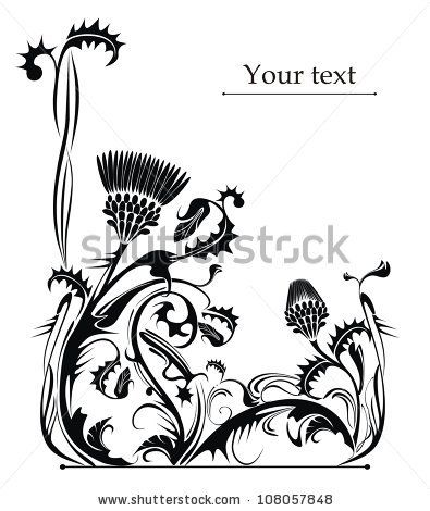 vector frame decorated with thistle - stock vector