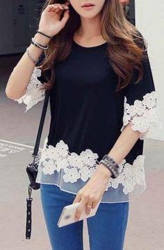 Fashionable Half Sleeve Lace Splicing T Shirt Black