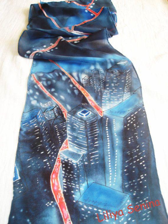 Batik scarf Night City silk 140/29cm by BatikByLiliyaSenina, $37.50