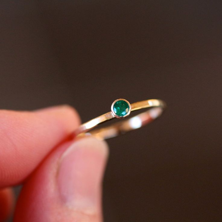 Emerald Solitaire Ring 14k Recycled Yellow Gold by ShopClementine, $295.00