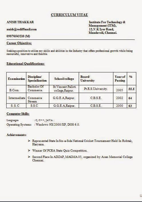 it professional cv template Sample Template Example of ExcellentCV - bcom resume format