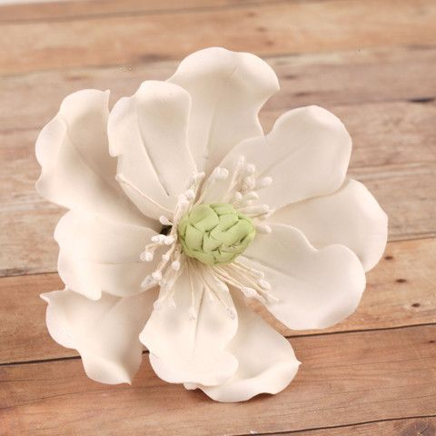 Edible Full Bloomed White Magnolia gumpaste sugarflower cake decorations perfect for wedding cakes, decorating rolled fondant cupcakes and birthday cakes.     CaljavaOnline.com #caljava