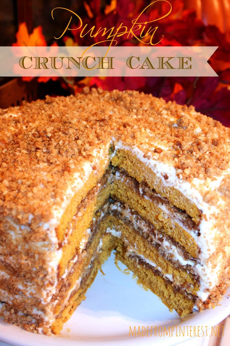 #Pumpkin Crunch #Cake with Cream Cheese Frosting -- This was quite a hit with my co-workers! I made only three layers and covered the top rather than the sides with crunch mixture. You only need 1/3 to 2/3 of the crunch mixture in the recipe--I had a lot left over.