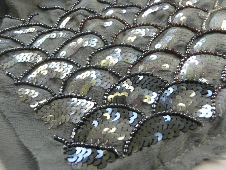 Embroidery sample with fish scale pattern using seed beads & iridescent sequins - fabric embellishment; scallops; textiles // Hand & Lock