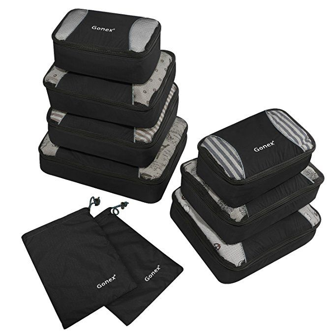 a6cdd50a73a1 Gonex Rip-Stop Nylon Travel Organizers Packing Bags Black | Done ...