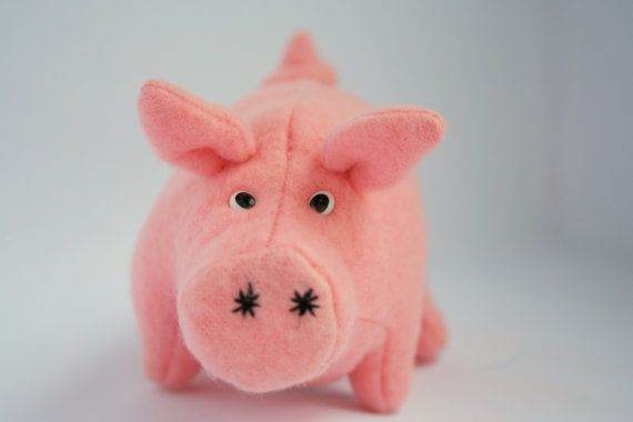 Stuffed Pig Toy  Plush Animal  Pia The Pig  Plush by 3lllaHandmade, $16.00