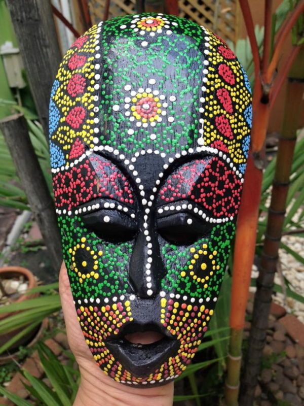 Mask Tribal Dot Aboriginal Hand Carved Painted Art Face