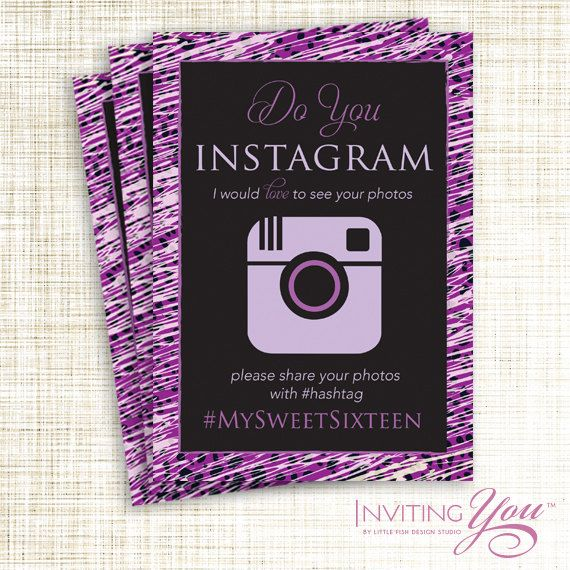 Sweet Sixteen, Bar-Bat Mitzvah, Animal Print, Instagram Sign, Digital File or Printed Signs by InvitingYou on Etsy