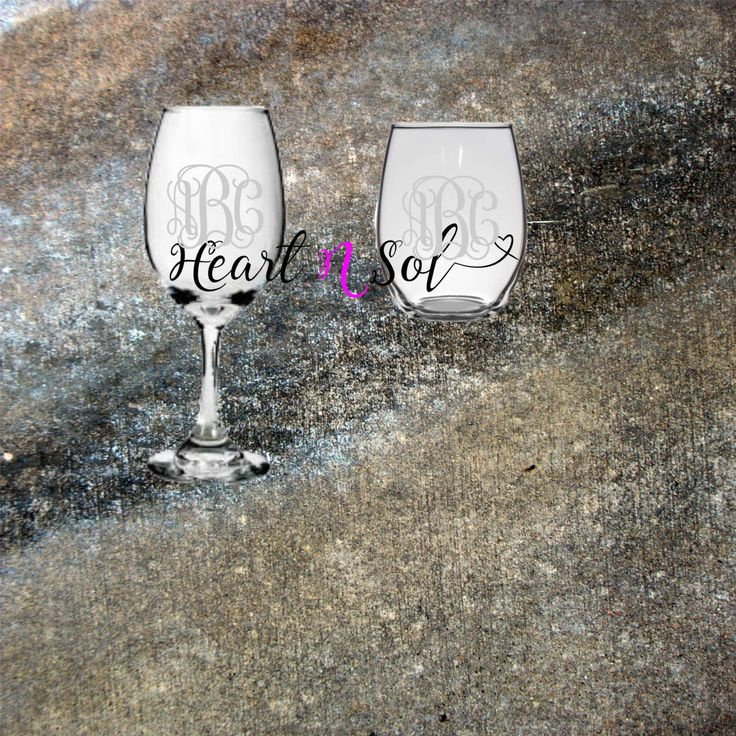 Monogram wine Glass - Free Shipping Wine Glass, Stemless Glass, Rocks Glass, Beer Stein by Heartnsol1 on Etsy
