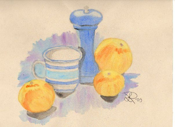 Still life, water color on paper