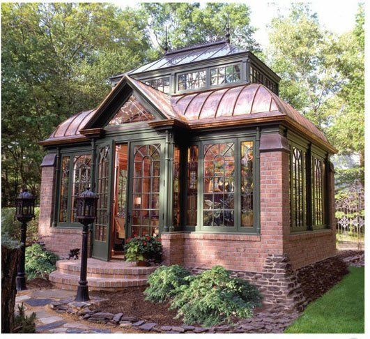 The glass and steel structure conservatory shown above the jump was designed to look like buidings in the 1850's. The Victorian cabana shown on this page was built to match the home owners' historic 1880 house.