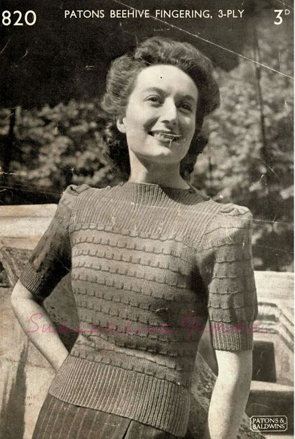 Free Pattern: 1940s Split-Neck Jumper, Patons 820 - Subversive Lesbian Anarchic Femme!