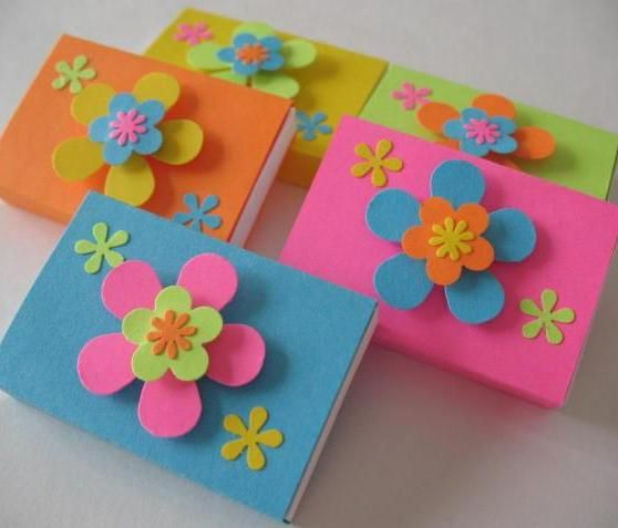 These bright and colorful girly girl matchboxes were made from bright cardstock and scraps of other coordinated cardstock punchies.  This is one of those projects where your small and tiny scraps will go a long way on these fun and cute little matchboxes.