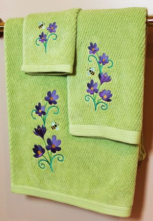 The 92 best images about machine embroidery towels on for Bathroom embroidery designs