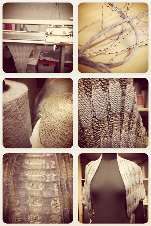 silver-gray/bluish bolero made in a luxurious merino-silk blend and lurex viscose yarns. by Mimoods Knits