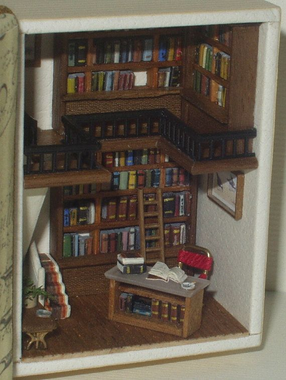 A bookshop in a book micro ambiente inserito in by minifromItaly