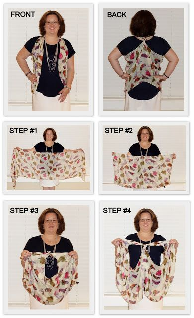 How to Tie a Scarf into a Vest (2013) - I saw this great demo in person and wow-now I have a wonderful new way to wear my scarves. Great job Monica!!!!