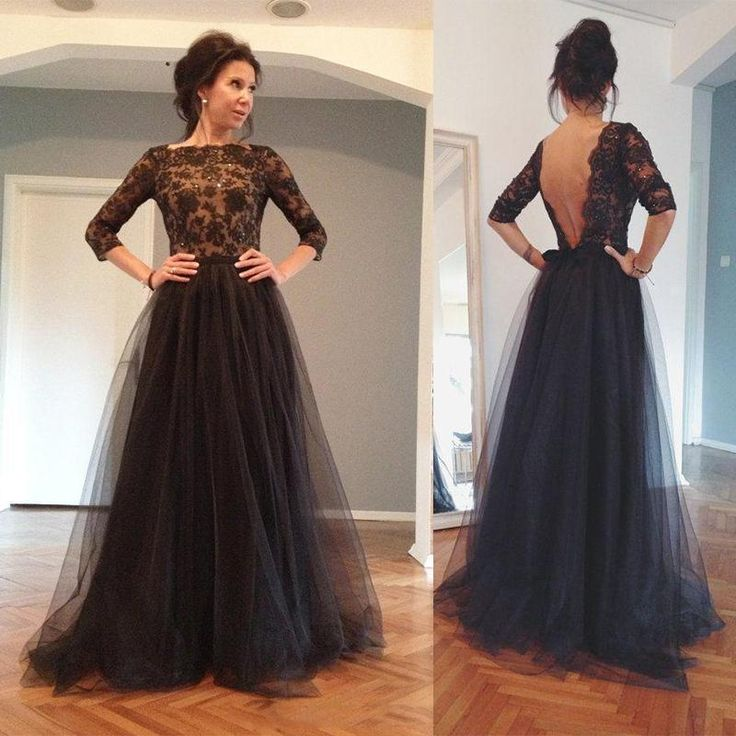 New Sexy Backless Evening Gowns,Long Sleeves Evening Dresses,Bateau Sweep Train Lace Prom Dress,Long Sleeve Tulle Evening Dresses