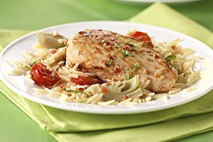 Zesty Chicken & Orzo Skillet recipe #chickenrecipes