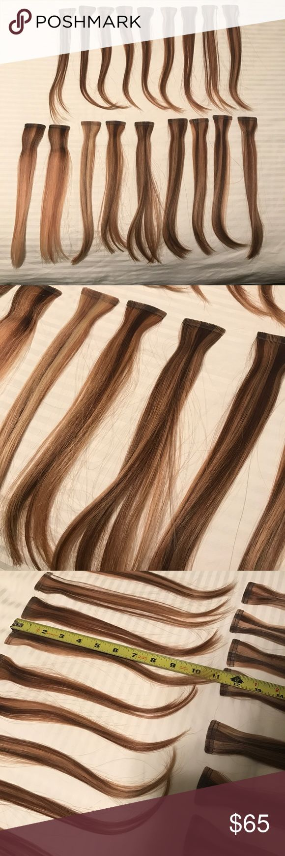 "Babe Tape In Hair Extensions Brand:: Babe🔹Color:: 6/10 (light brown/blonde)🔹Individual Pieces:: 27 - enough for a full head of hair for someone with thin to average hair density (bottom row in photo are stuck back to back so it shows less pieces than actually exists) 🔹Length:: 11.5"" (will create a collar bone length look)🔹Hair Condition:: excellent/healthy🔹In my opinion these are the greatest damage free hair extensions ever! I have worn them for over 2 years and will never give them…"