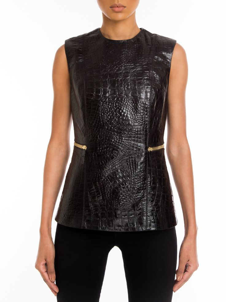 #Manokhi black crocodile embossed leather top ,available also in nude on www.manokhi.com