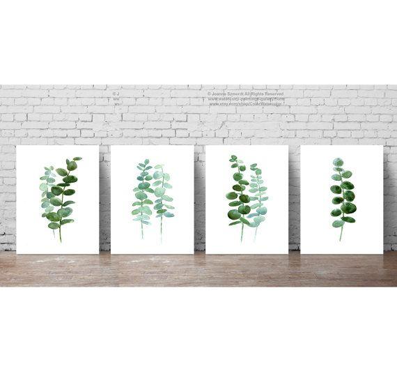 Eucalyptus bladeren set 4 botanische Prints, minimalistische Scandinavische kamer decoratie, Green Leaf botanische planten Poster, keuken illustratie