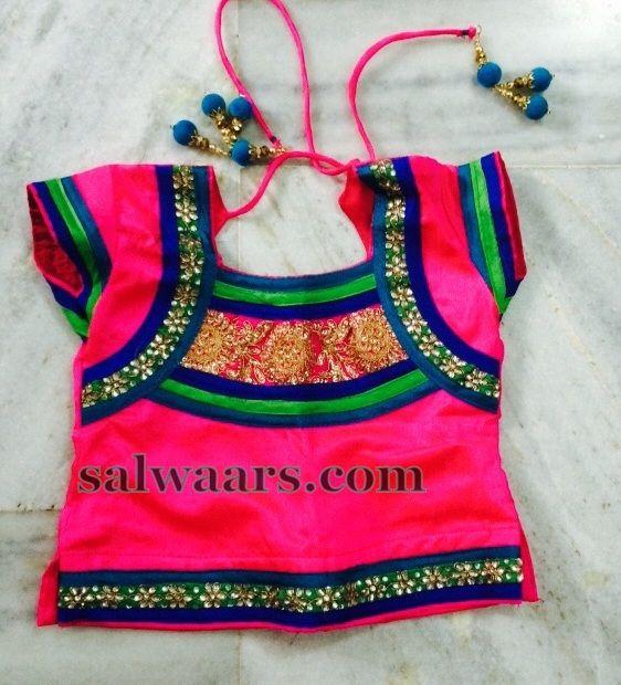 Aqua Blue Net Lehenga Pink Blouse - Indian Dresses