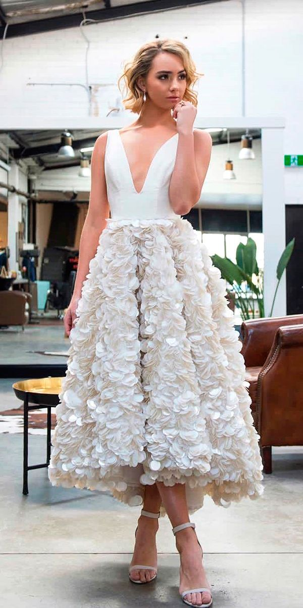 24 Gorgeous Tea Length Wedding Dresses ❤ tea length wedding dresses v neckline sleeveless alinlekal ❤ See more: http://www.weddingforward.com/tea-length-wedding-dresses/ #weddingforward #wedding #bride