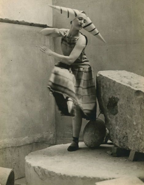 """Constantin Brancusi (Romania 1876 - France 1957), costume designed for Eric Satie's ballet """"Gymnopedies,"""" 1922. Modeled by Lizica Codreanu (b. 1901), a Romanian dancer and member of Diaghilev's Ballets Russes, in Brancusi's studio."""
