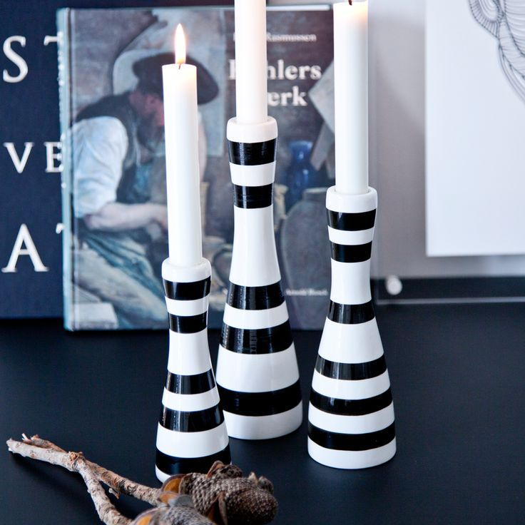 Omaggio Candlestick Black, 2 Sizes