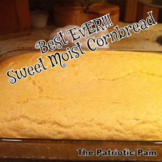 Best Ever Sweet Moist Cornbread Recipe.  I have been searching for a great cornbread recipe...and this was definitely it!