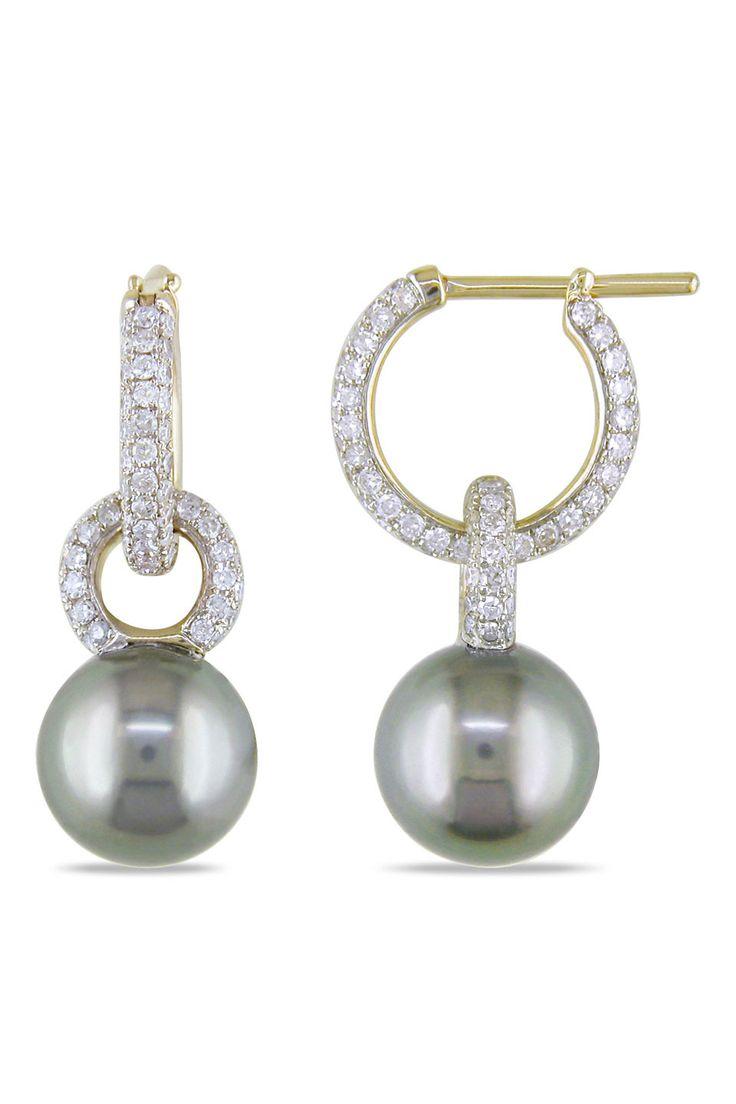 Vintage pearl drop gold earrings bocheron pearl earrings gold - 9 10mm Tahitian Pearl And 0 1 Ct Earrings In 14k Gold
