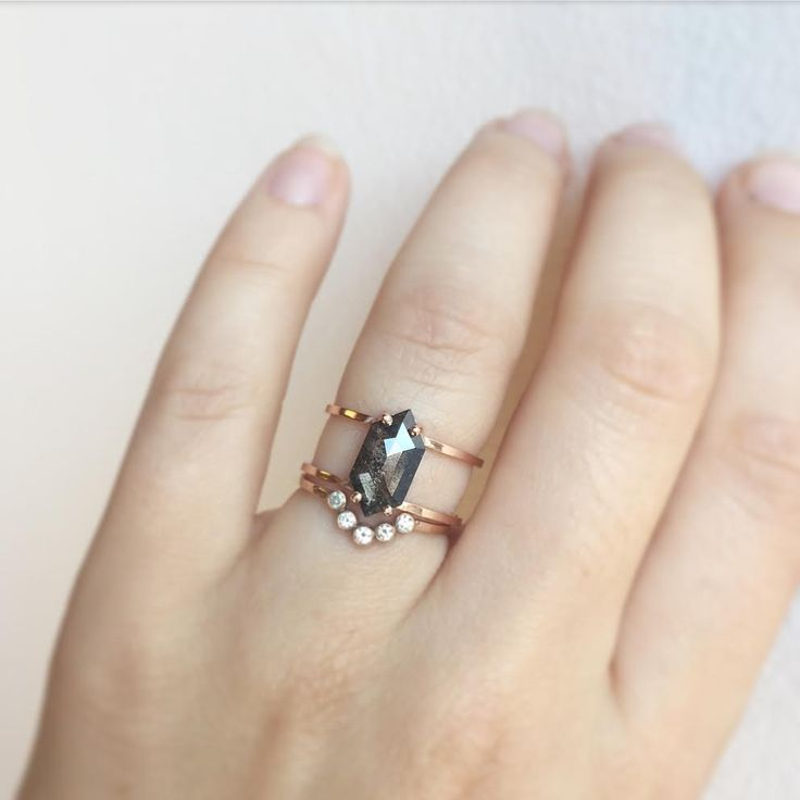 geometric black diamond ring + arc wedding band in rose gold  ::  Alexis Russell