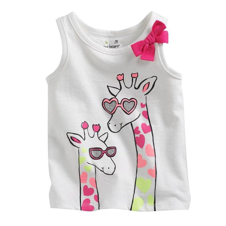 Jumping beans cotton kids baby infants girl short sleeve t-shirt glassed giraffe butterfly tie bow tee