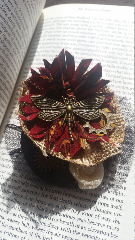 Steampunk Dragonfly Hair Clip by OptimisticOut1ook on Etsy